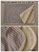 Deka/ prikrývka 100% Merino TOP a 100% bavlna francúzsky dizajn 140 x 210 cm