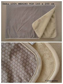 Úžitkový textil - Deka/ prikrývka 100% Merino TOP a 100% bavlna francúzsky dizajn 140 x 210 cm - 7490420_