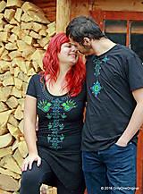 Tričká - Dámske a pánske tričká, párové, maľované, folk VYŠÍVANÔ - 7486774_
