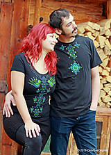 Tričká - Dámske a pánske tričká, párové, maľované, folk VYŠÍVANÔ - 7486776_