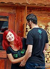 Tričká - Dámske a pánske tričká, párové, maľované, folk VYŠÍVANÔ - 7486825_