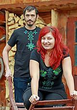 Tričká - Dámske a pánske tričká, párové, maľované, folk VYŠÍVANÔ - 7486826_