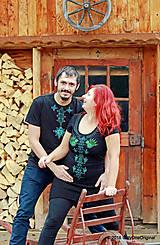 Tričká - Dámske a pánske tričká, párové, maľované, folk VYŠÍVANÔ - 7486853_