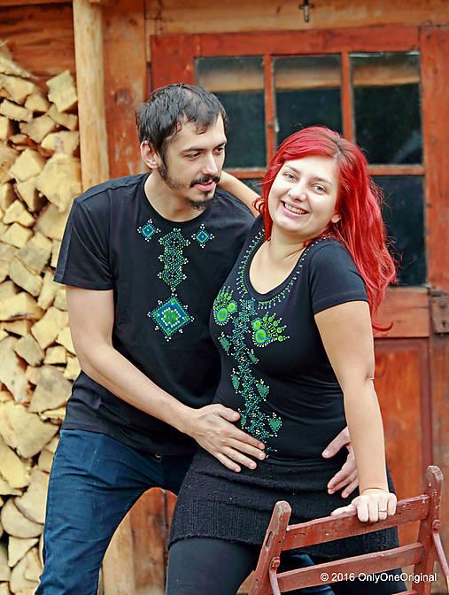 Dámske a pánske tričká, párové, maľované, folk VYŠÍVANÔ