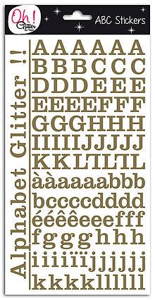 Iný materiál - STB13 Nálepky  ABECEDA TLAČENÁ zlatý glitter 240 ks - 7486479_