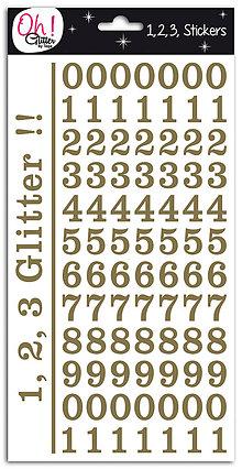 Iný materiál - SB41 SAMOLEPIACE ZLATÉ GLITROVÉ ČÍSLICE 210ks - 7486608_