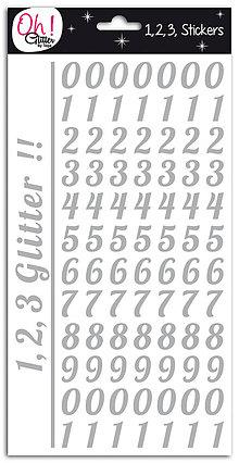 Iný materiál - SB42 SAMOLEPIACE STRIEBORNÉ GLITROVÉ ČÍSLICE 210ks - 7486634_