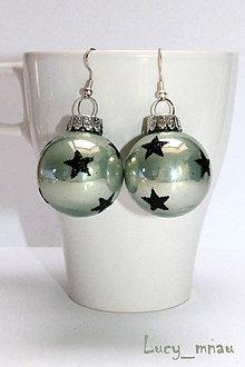 Náušnice - Zimné zelené s hviezdičkami :) - 7489877_