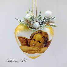 Dekorácie - Srdiečko anjel biele - 7486092_
