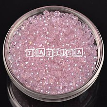 Korálky - Korálky - sklenené brúsené 6x8mm rosaline lesklé AB - 7493792_
