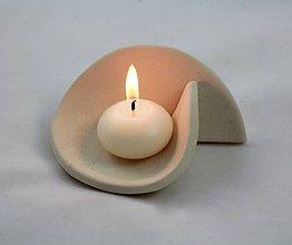 Svietidlá a sviečky - keramický svietnik v minimalistickom štýle - 7491390_