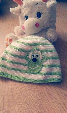 Detské čiapky - čiapka - opička v zelenom - 7493959_