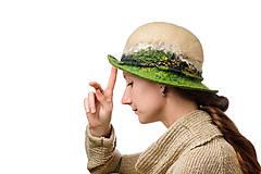 Čiapky - Béžový vlnený klobúk, ručne plstený z merino vlny - 7491568_