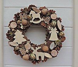 Dekorácie - vianočný veniec (natur) - 7493000_