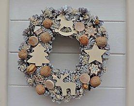 Dekorácie - vianočný veniec (zasnežený) - 7494603_