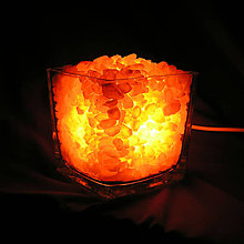 Svietidlá a sviečky - Soľná Lampa - HimaLaLájska - sklenená kocka - 7494113_