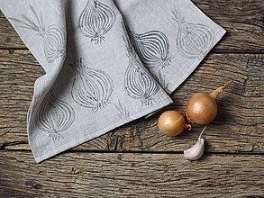 Úžitkový textil - Cibuľová utierka z prírodného ľanu - 7492501_