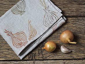 Úžitkový textil - Cibuľová utierka z prírodného ľanu s ručnou potlačou - 7492532_