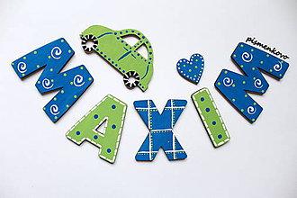 Tabuľky - MAXIM ... meno z drevených písmeniek - 7494147_