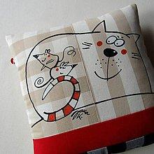 Úžitkový textil - SEŠÍVANÝ KOCOUREK - polštář - 7494761_