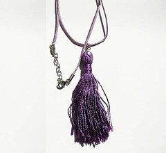 Náhrdelníky - Fialový náhrdelník so strapcom - 7498498_