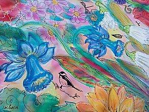 Šatky - Rozkvitnuté priateľstvo-hodvábna maľovaná trojcípa šatka so strapcami - 7496989_