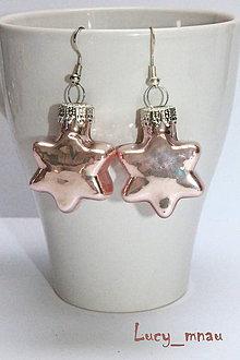 Náušnice - Zimne hviezdičky ružovkasté :) - 7496057_