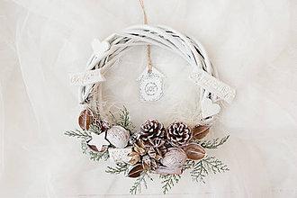 Dekorácie - Vianočný venček biele Vianoce - 7495782_