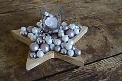 Svietidlá a sviečky - Vianočný svietnik v tvare hviezdy (Strieborný) - 7497682_