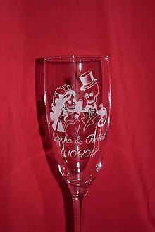 Nádoby - Svadobné poháre + gravirovanie 24 - 7496915_