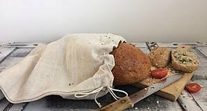 Úžitkový textil - Vrecúško na pečivo z ručne tkaného ľanu 30x35cm - 7499173_