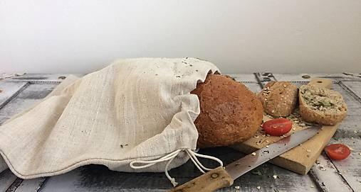 Vrecúško na pečivo z ručne tkaného ľanu 30x35cm