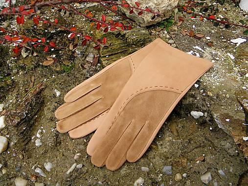 33c3d841ca6 Béžové dámské kožené rukavice s hedvábnou podšívkou - celoroční ...