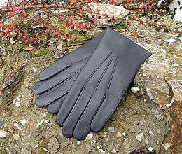 Rukavice - Šedé pánské kožené rukavice s vlněnou podšívkou - 7497819_