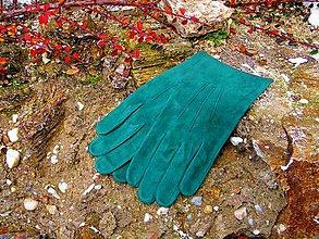 Rukavice - Pánské zelené rukavice bez podšívky - 7497839_