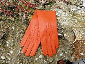 Rukavice - Rezavé dámské kožené rukavice s hedvábnou podšívkou - ručně šité - celoroční - 7497875_