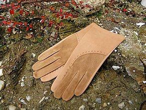 Rukavice - Béžové dámské kožené rukavice s hedvábnou podšívkou - celoroční - 7497894_
