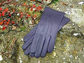 Rukavice - Fialové dámské kožené rukavice s čistým hedvábím - ručně šité - celoroční - 7497944_