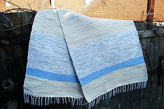 Úžitkový textil - Tkaný svetlomodrý koberec z polyesteru - 7496058_