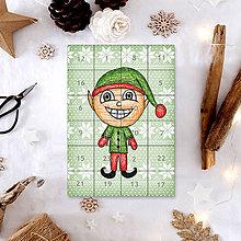 Papiernictvo - Adventný kalendár vločky (elf) - 7495432_