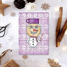 Papiernictvo - Adventný kalendár vločky (snehuliak) - 7497102_