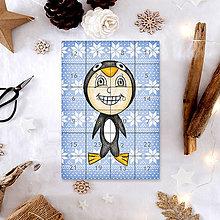 Dekorácie - Adventný kalendár vločky (tučniak) - 7499030_