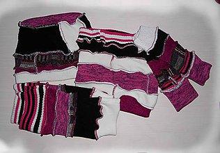 Šály - pink nákrčník, čiapka,rukavice a štucne - 7504833_
