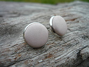 Náušnice - Náušnice Buttonky Krémové - 7503983_