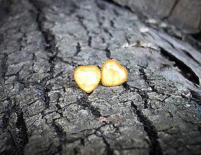 Náušnice - Srdiečka kovové 8 mm (žlté) - 7500334_