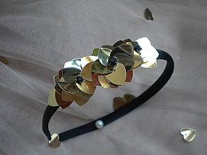 Ozdoby do vlasov - Čelenka... lupene zlaté - 7504312_