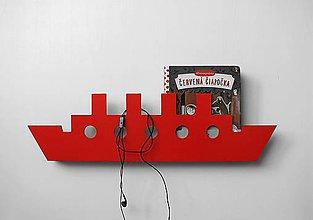 Nábytok - nástenný vešiak/polička 'na lodi' červený - 7502276_