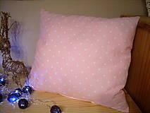 vankúšik ružový s hviezdičkami  40x 45cm