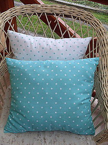 Úžitkový textil - vankúš mentolovo biely -hviezdičky  40x45 (Tyrkysová) - 7501734_