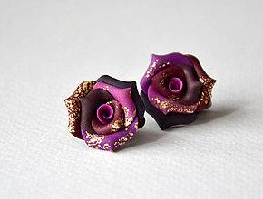 Náušnice - Klipsne, fimo, ruže - 7501490_